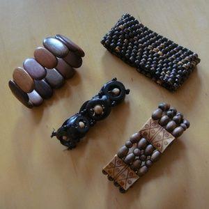 Jewelry - Lot of 4 Wooden Bead Bracelets